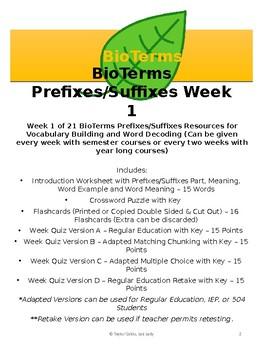 BioTerms Prefixes/Suffixes Practice Week 1
