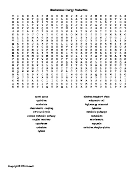 Biochemical Energy Production Vocabulary Word Search for Biological Chemistry