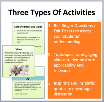 Biochemistry - Bell Ringers, Class Warm-Ups, and Exit Tickets
