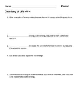 Biochemistry - Chemistry of Life HW 4