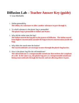 Biochemistry Diffusion Laboratory Lesson Plan