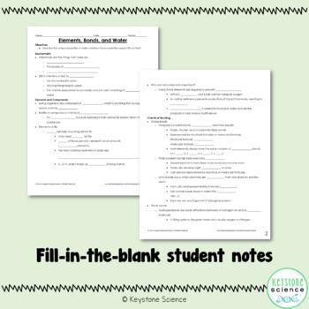 Biochemistry Elements Bonding Water PowerPoint & Notes Biology Keystone Aligned