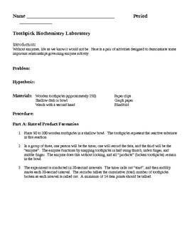 Biochemistry Enzyme Activity Laboratory Lesson Plan