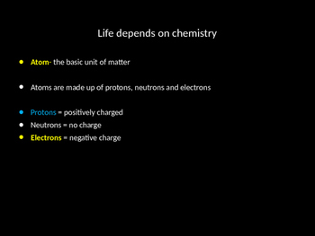 Biochemistry, Intro to Chemistry chapter 2