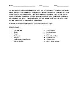 Biochemistry - Introduction to Macromolecules Lab Activity