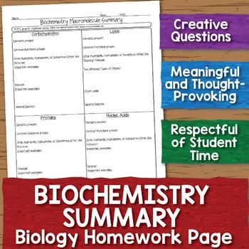Biochemistry Macromolecule Summary Biology Homework Worksheet