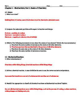 Biochemistry Part 1 Basics Of Chemistry Worksheet By Val Tpt