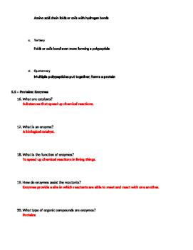 Biochemistry: Part 2 - Chemistry of Life Worksheet