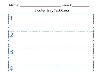 Biochemistry Task Cards