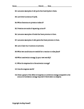 Biochemistry Test Review / Study Guide