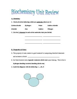 Biochemistry Unit Review Packet