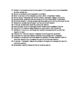 Biochemistry Vocabulary for Biology Class