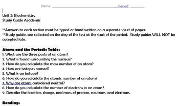 Biochemistry and Macromolecules unit