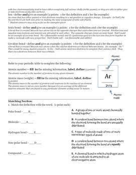 Biochemistry atoms bonding molecules quiz formative assessment