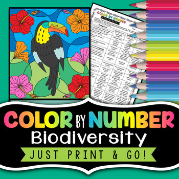 Biodiversity Color by Number - Science Color By Number