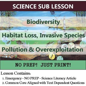 Biodiversity Sub Plan - Ecology Common Core Homework