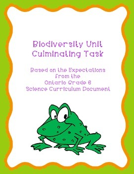 Biodiversity Unit Culminating Task (Grade 6 Science)