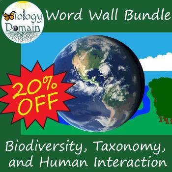 Biodiversity and Taxonomy Vocabulary Card Word Wall Bundle