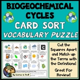 Biogeochemical Cycles Vocabulary Card Sort Puzzle