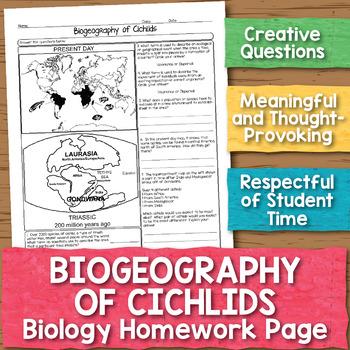 Biogeography of Cichlids Biology Homework Worksheet