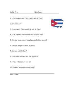 Celia Cruz Biografía ~ Biography + Worksheet on Cuban Singer Celia Cruz