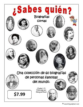 (Biografías) Biographies in Spanish 1-3 grade total of 60