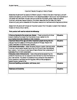 Biographical Expository Essay Project