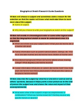 Biographical Sketch Guide Questions