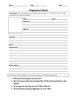 Biographical Sketch Worksheet