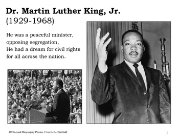 10 Second Biography Poems for MLK, Jr. Day and Black History Month