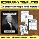 Biography Templates for Research for Famous People in United States History