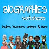 Biographies Worksheets Bundle