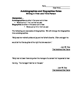 Biographies and Autobiographies:  1st v. 3rd Person Point of View Notes