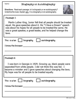 Biographies and Autobiographies: Reading Activities