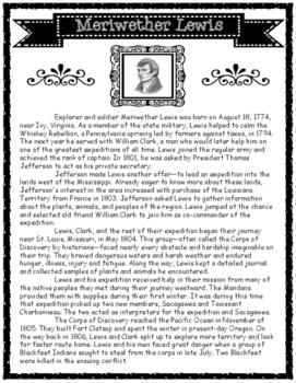 Biographies of Meriwether Lewis and William Clark Informat