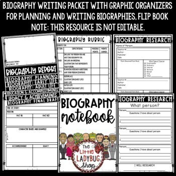 Biography Report Template: Biographies Informational Writing & Biography Project