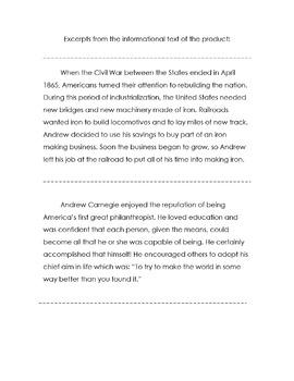 Biography ANDREW CARNEGIE Reading Social Studies w/18 Multiple Choice Comp + Voc