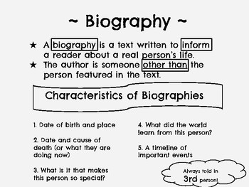 image about Printable Biographies for 3rd Graders titled Biography Anchor Chart Worksheets Education Supplies TpT
