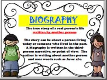 Biography & Autobiography Posters/Anchor Charts (SPANISH & ENGLISH)