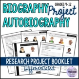 Biography/Autobiography Research Project Booklet for Teens