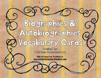 Vocabulary Cards-Biographies/Autobiographies (State-Testin