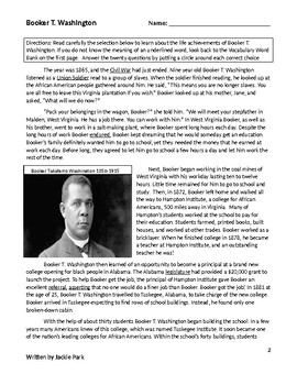 Biography BOOKER T. WASHINGTON Reading Comprehension Lesson/Test 20 Questions