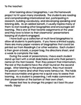 Biography Bag Presentations