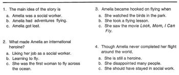 Biography Bank: AMELIA EARHART, PILOT w/ 4 Mult Choice Reading Comprehension Q's