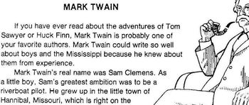 Biography Bank: Author, MARK TWAIN w/ 4 Multiple Choice READING COMPREHENSION Qs