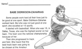 Biography Bank: BABE DIDRIKSON ZAHARIAS Olympian & Golfer w/4 Multiple Choice Qs