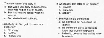 Biography Bank: BENJAMIN FRANKLIN w/ 4 Multiple Choice READING COMPREHENSION Q's