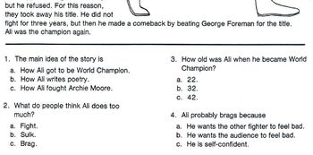 Biography Bank: Boxer MUHAMMAD ALI  w/4 Multiple Choice Reading Comprehension Qs
