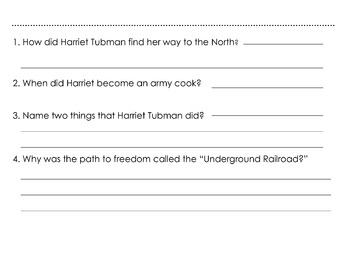Biography: HARRIET TUBMAN w/ 4 Multiple Choice Reading Comprehension Quetions