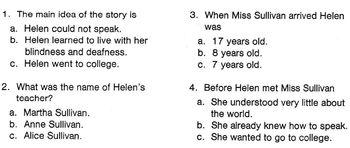Biography Bank: HELEN KELLER Info Text w/ 4 Mult Choice Reading Comprehension Qs